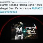 Honda Sonic 150R jadi Best Performance versi Motorplus Award 2016