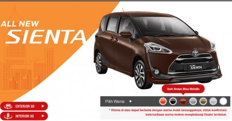 Toyota Sienta Warna drak brown mica metallic