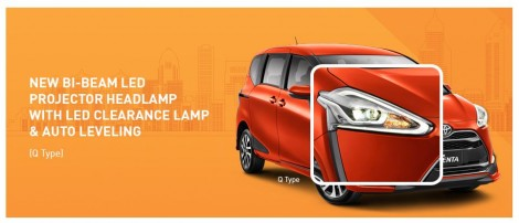 headlamp LED Projector Toyota Sienta
