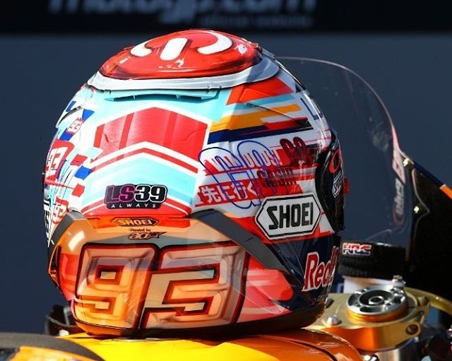 helm shoei marc marquez special edition aragon 2016. Black Bedroom Furniture Sets. Home Design Ideas