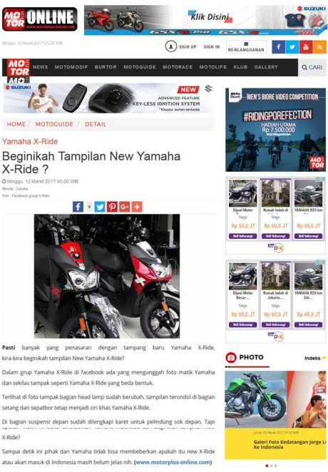 Inikah Yamaha All New X-Ride 125 Blue Core