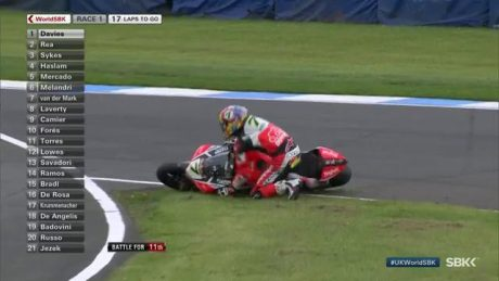 Chaz Davies Ducati Panigale R Crash WSBK UK 2017