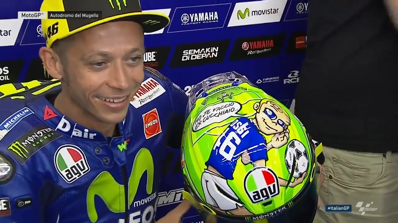 Helm Valentino Rossi AGV Pista GP R Edisi Special MotoGP Mugello 2017 Tribute To Francesco Totti, Nicky Hayden and Marco Simoncelli