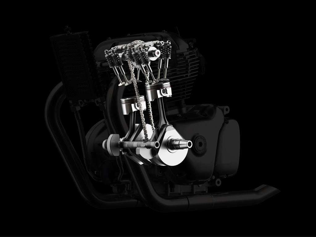 Royal Enfield 648cc Twin Engine + Ghosted Internals LHS view