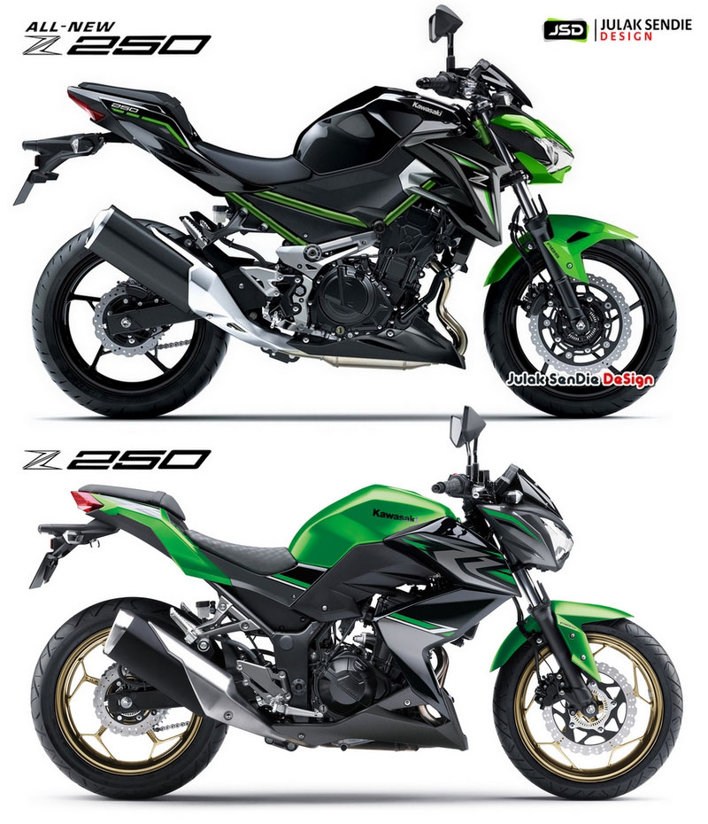 Sketsa Kawasaki All new Z250 VS versi Lama