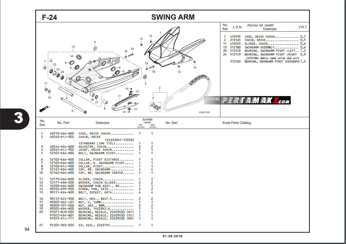 Harga Swing Arm Honda CBR250RR part catalogue