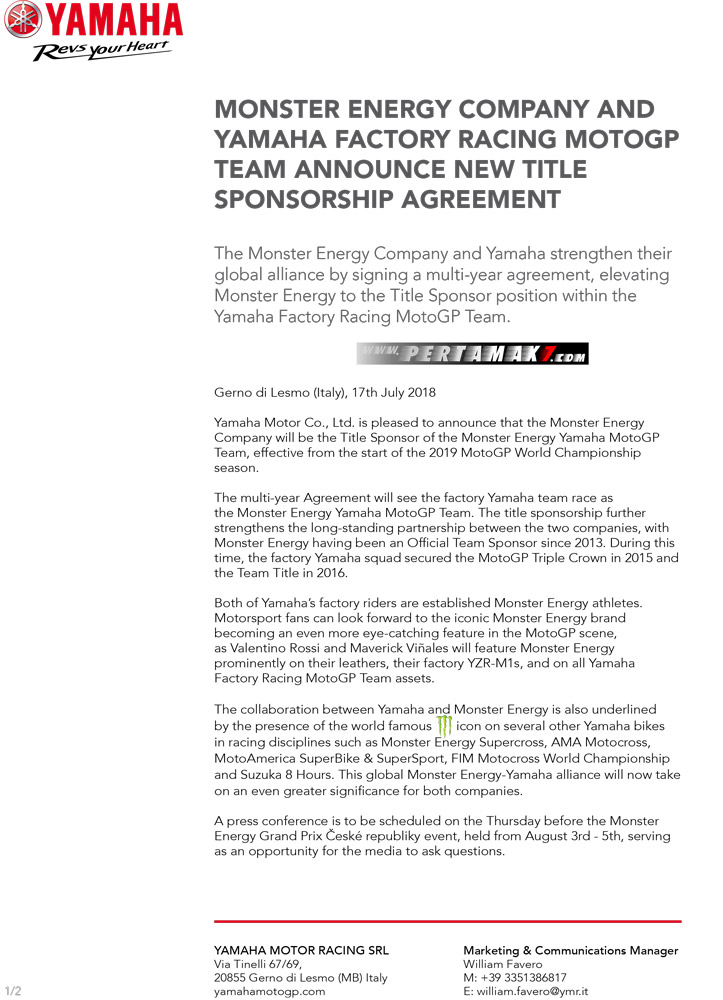 Press release Monster Energy Yamaha MotoGP Team