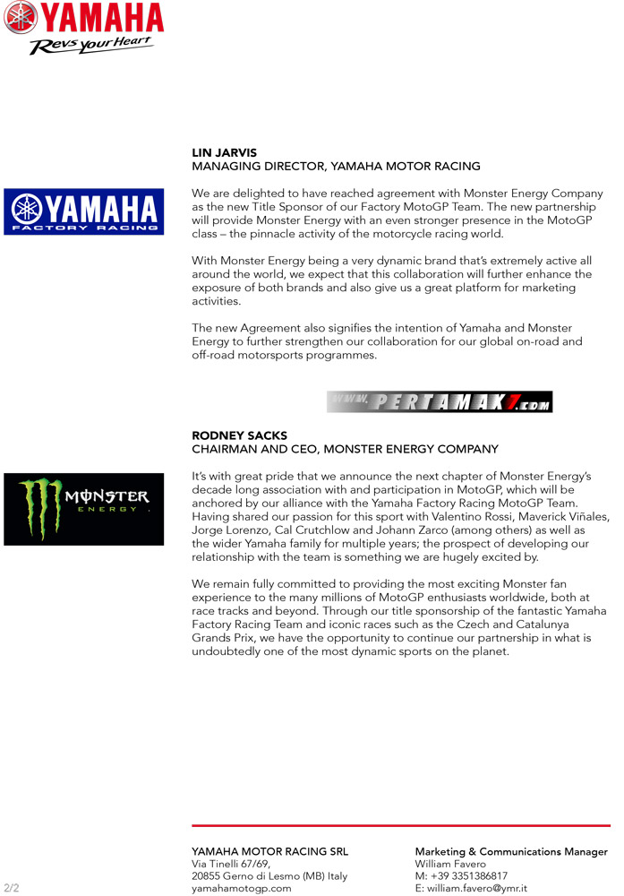 Press release Monster Energy Yamaha MotoGP Team b