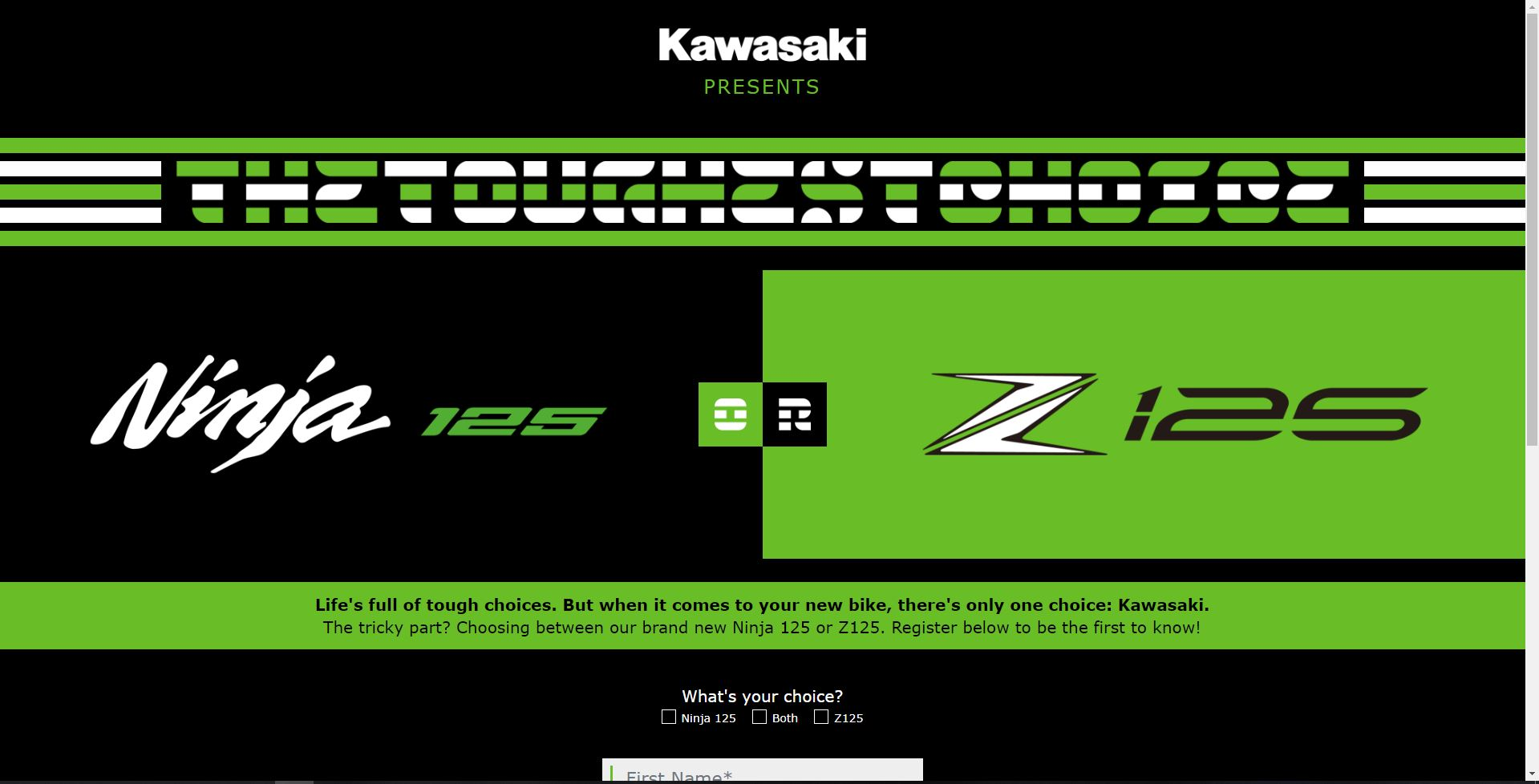 Kawasaki The Toughes Choice Ninja 125 VS Z125