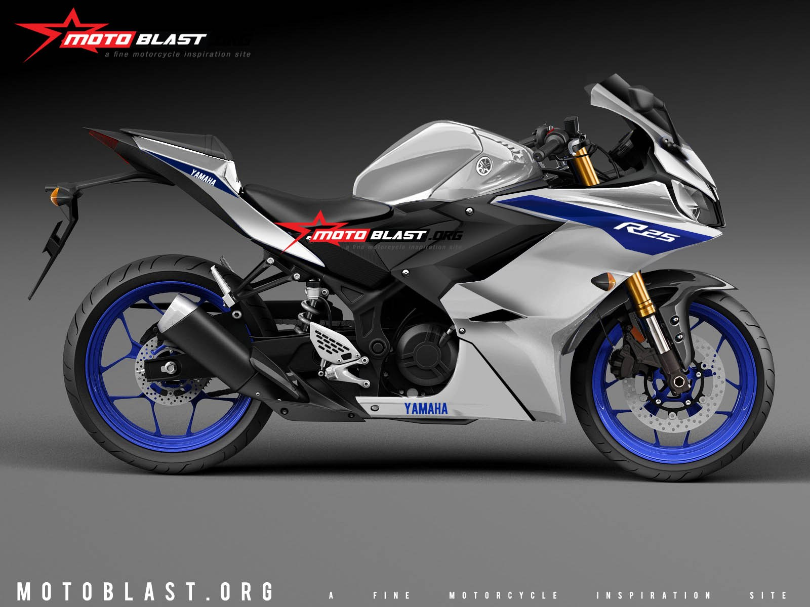 Render Yamaha All New R25 Ala MotoBlast Putih