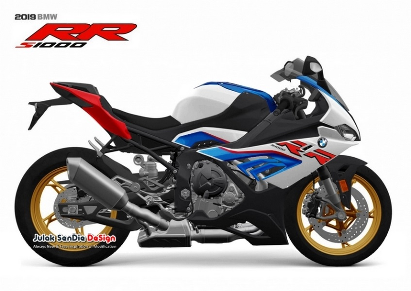 2019 BMW S100RR By Julak Sendie Right Side Light White Lupin Blue Metallic Racing Red