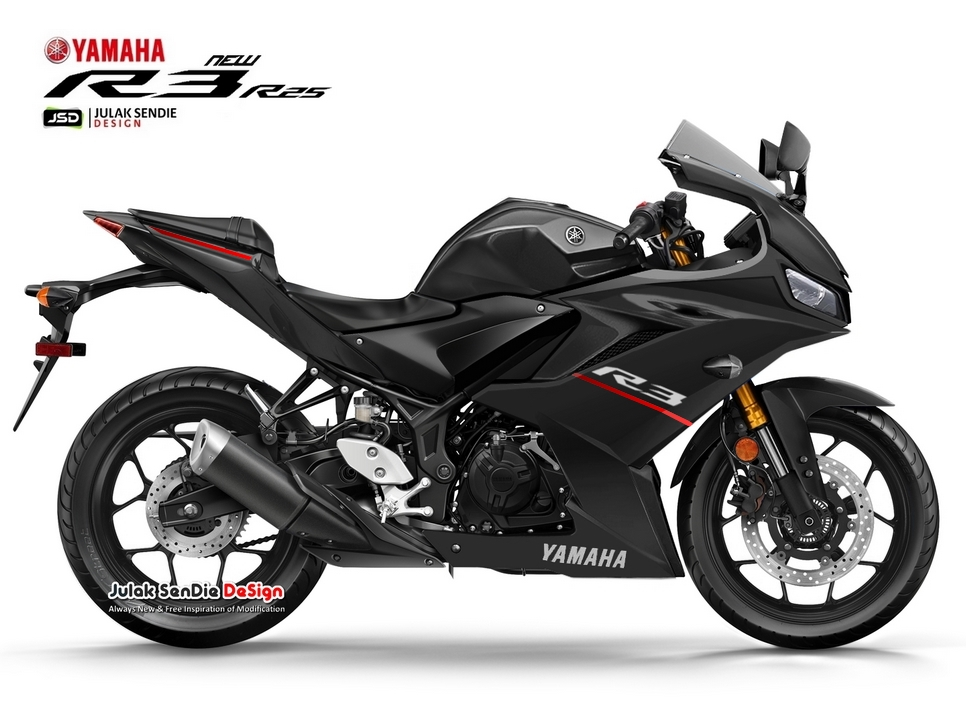 Gambaran Yamaha All new R25 Facelift 2019 Hitam