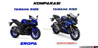 Komparasi Yamaha All New R125 Eropa VS R15 Indonesia Blue Biru
