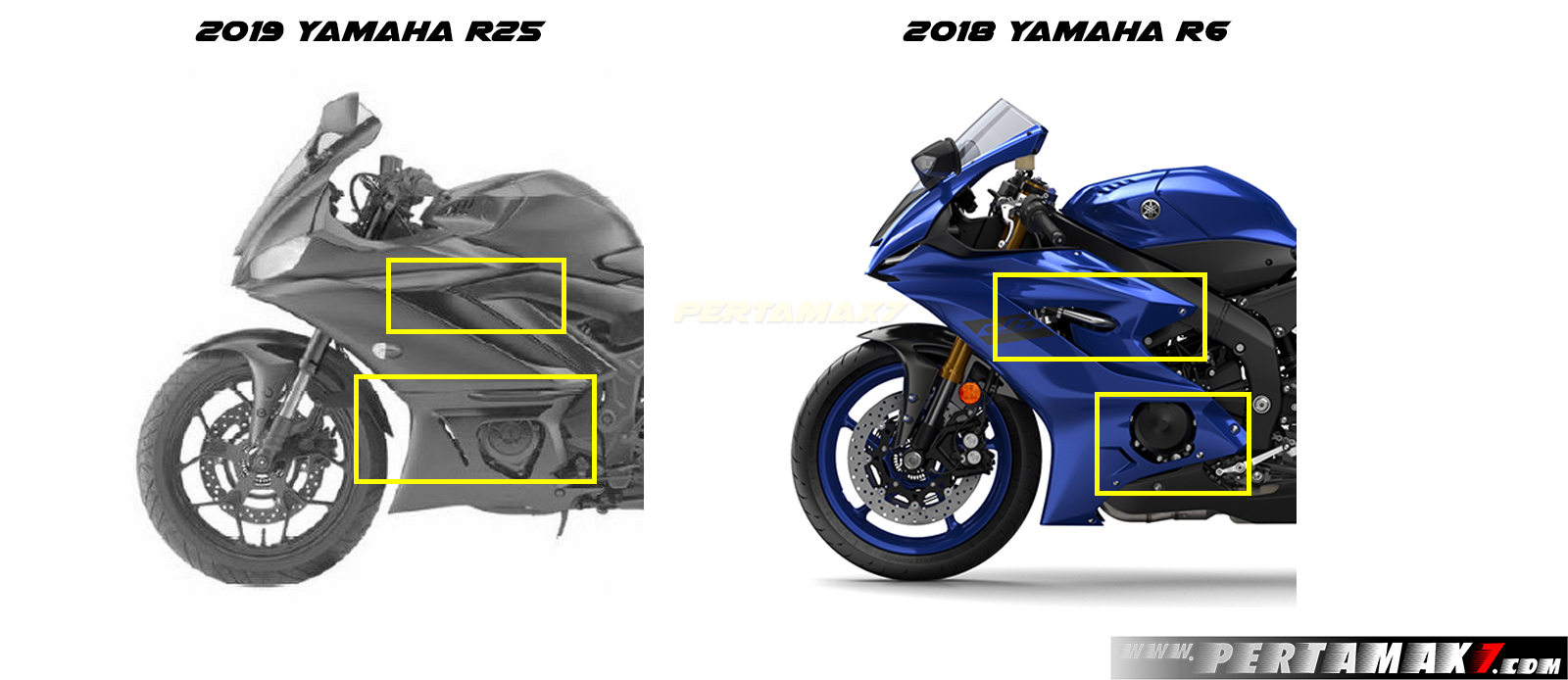 Fairing Kiri amaha R25 Faeclift 2019 VS Yamaha R6 MY2018
