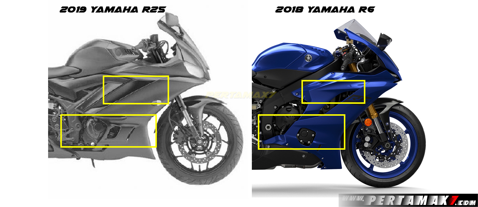 Fairing kanan Yamaha R25 Faeclift 2019 VS Yamaha R6 MY2018
