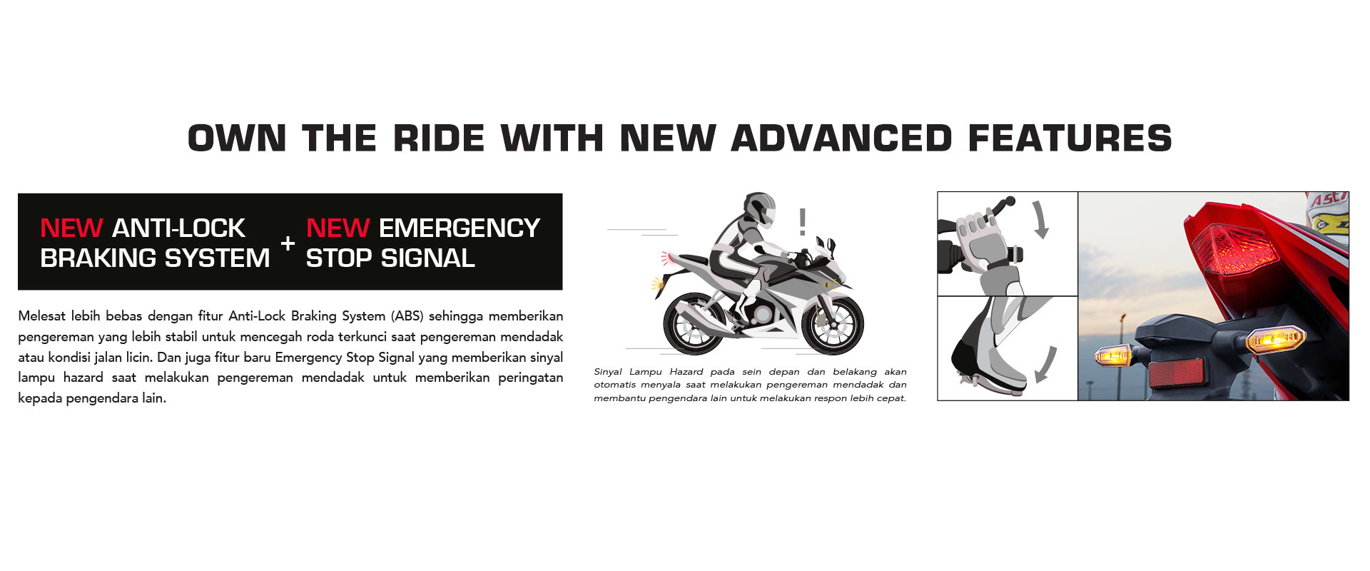 Fitur New Honda CBR150R ABS Emergency Stop Signal