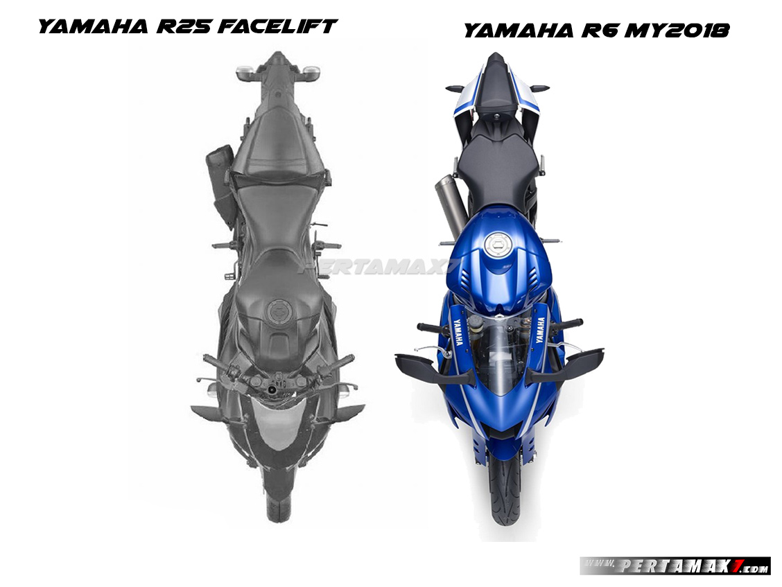Tampak Atas Fairing Yamaha R25 Facelift 2019 VS Yamaha R6 MY2018 Top View