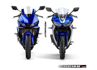 Tampak Depan Yamaha New R25 Facelift 2019 VS R25 MY2018