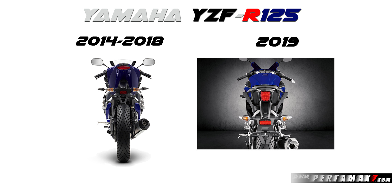 Yamaha R125 MY2014 VS R125 MY2019 Rear View