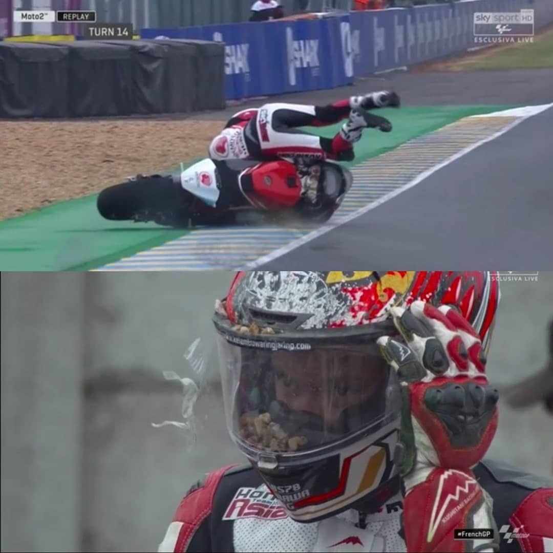 Video Crash Dimas Ekky fp3 moto2 france 2019 kyt kerikil