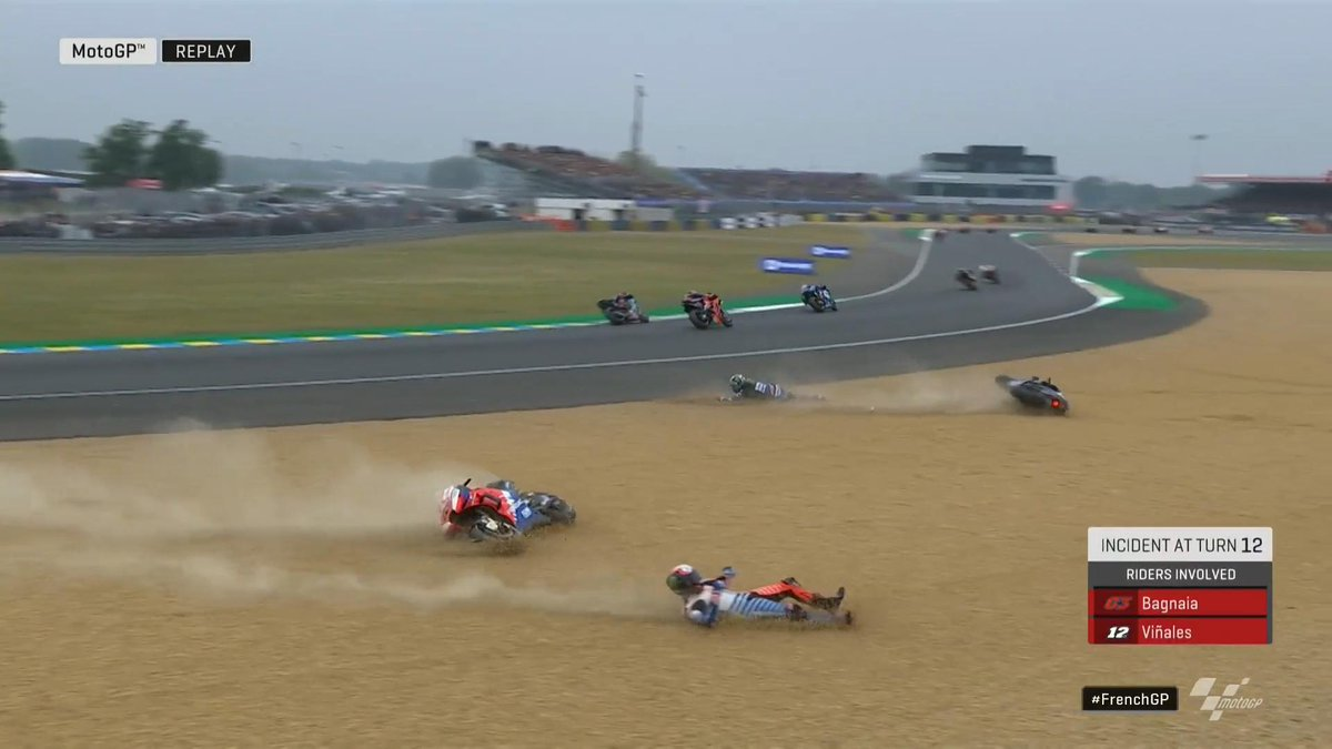 maverick vinales crash motogp le mans 2019 out