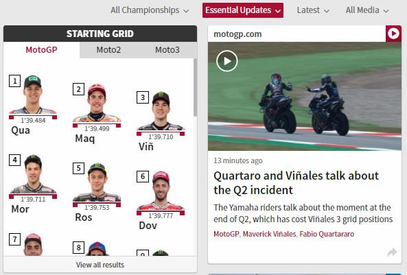 Clash Quartararo VS Vinales Q2 MotoGP Catalunya 2019
