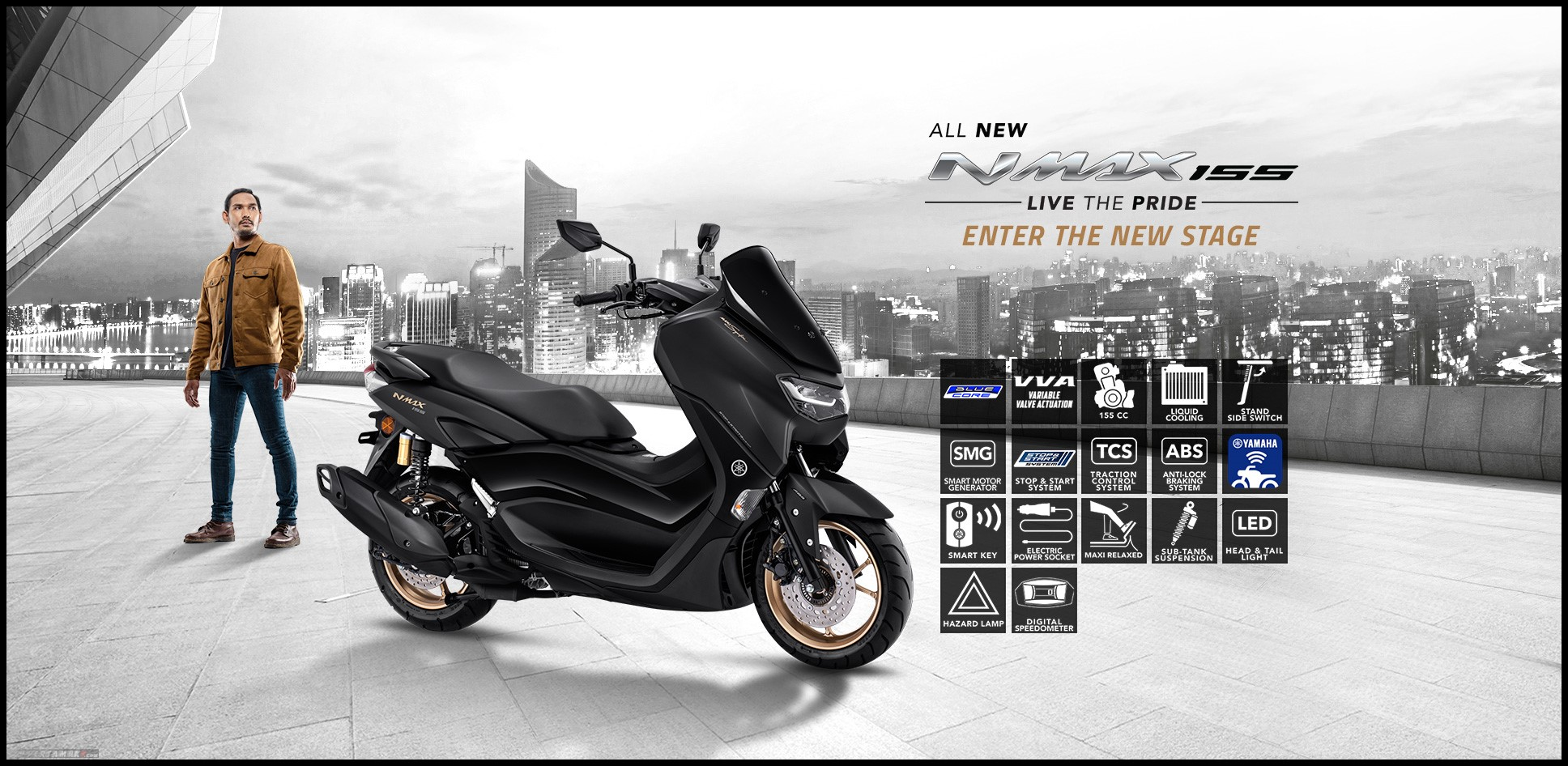 All new Yamaha NMAX ABS Facelift 2020 Warna Hitam Dop