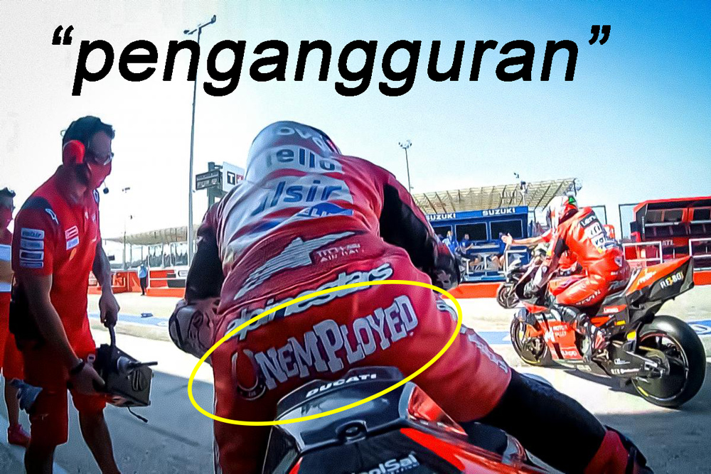 Andrea Dovizioso Pasang Unemployed di Wearpack