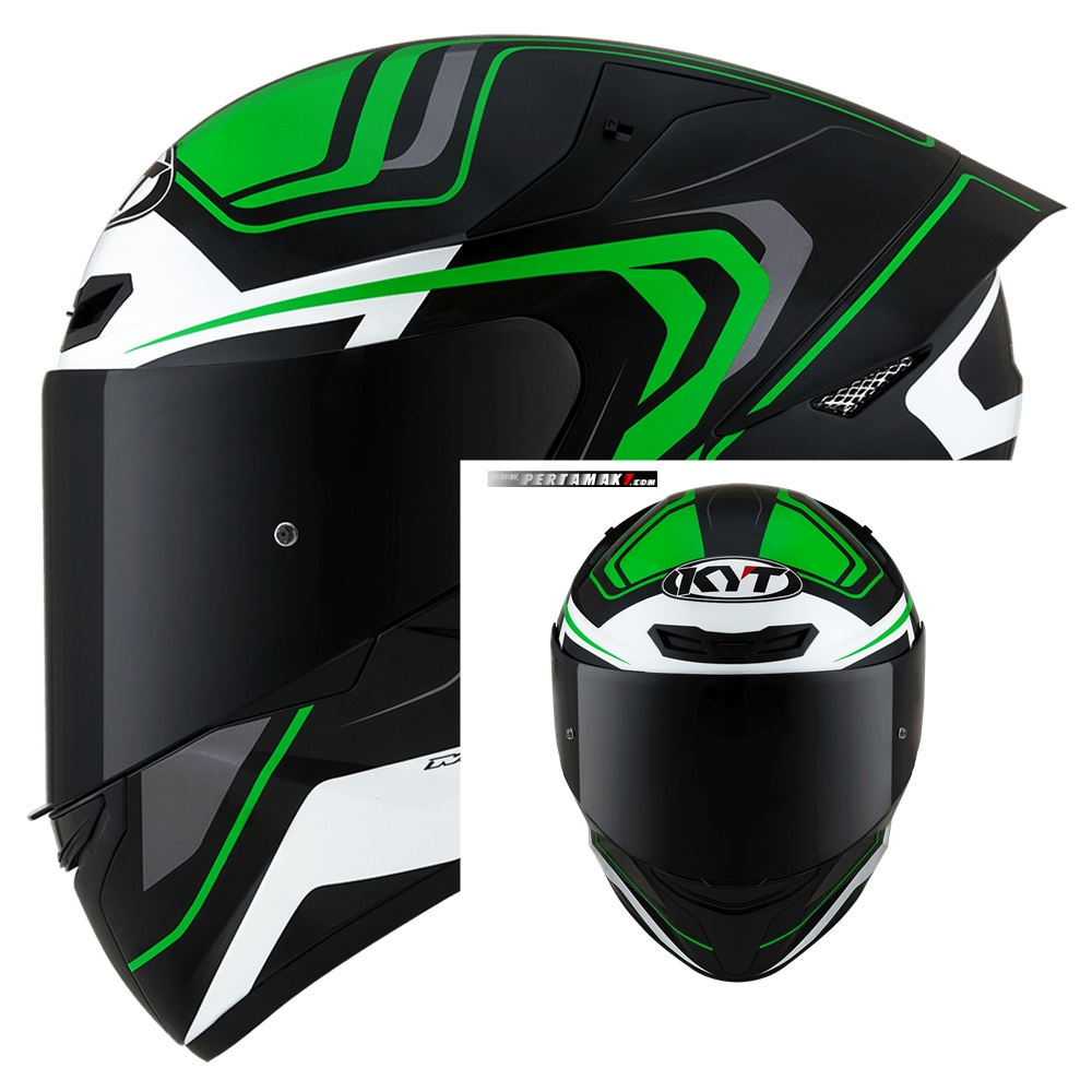 Helm KYT TT Course Overtech Green Black Indonesia
